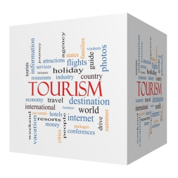 Tourism 3D cube Word Cloud Concept